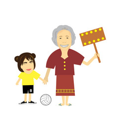 Granddaughter and grandmother cartoon vector