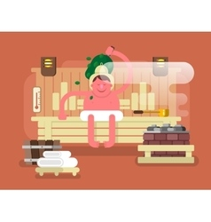 Man in the sauna steam vector image