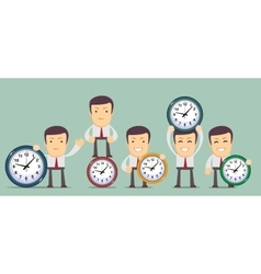 Man with clocks symbolizing time management vector