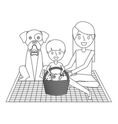 mom and son their dog sitting on a blanket with vector image