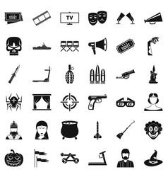 movie icons set simle style vector image