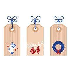 retro christmas tags vector image vector image