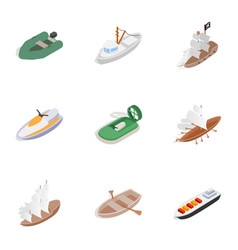 sea transport icons isometric 3d style vector image vector image
