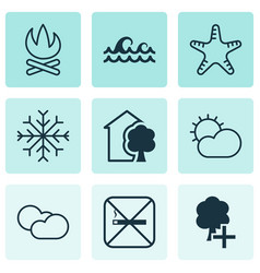 Set of 9 eco-friendly icons includes ocean wave vector