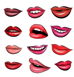 Set of Pop Art Lips on a white background vector image vector image