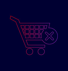 Shopping cart with delete sign line icon vector