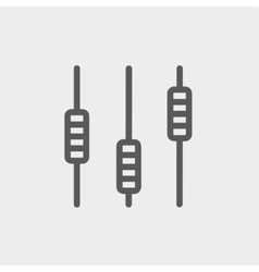 Sliders or faders control board thin line icon vector image