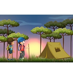 Two boys hiking and camping in the forest vector