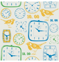Vintage Clocks Pattern vector image