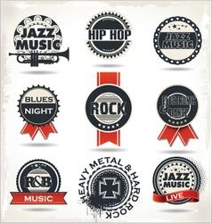 Vintage music labels vector image