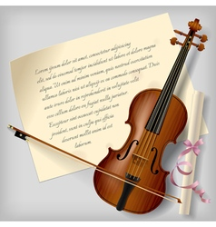 Violin with a paper sheet vector image