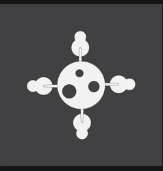 White icon on black background planet and trees vector