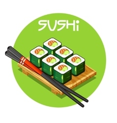 Wooden tray with sushi -japanese food vector