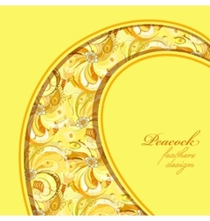 Yellow curl design peacock feathers pattern vector