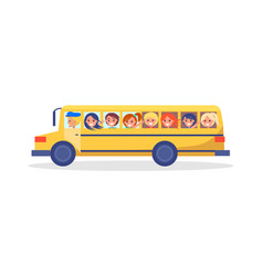 Yellow trip bus with kids going on excursion vector
