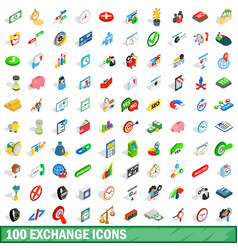 100 exchange icons set isometric 3d style vector image vector image