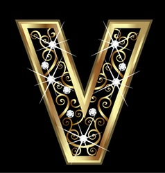 V gold letter with swirly ornaments vector