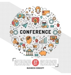 Business conference design templates line vector
