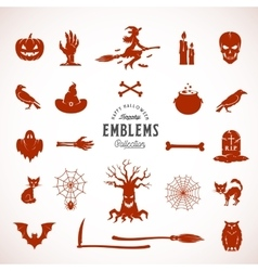 Halloween silhouettes icons or symbols vector