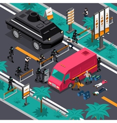 Swat in action isometric composition poster vector
