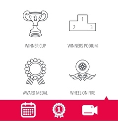 Winner cup podium and award medal icons vector image