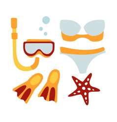 Women swimsuit and accessories for diving vector