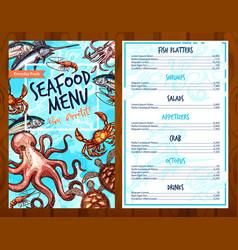 Fresh seafood and fish food restaurant menu vector