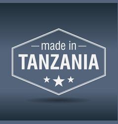 Made in tanzania hexagonal white vintage label vector