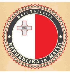 Vintage label cards of Malta flag vector image
