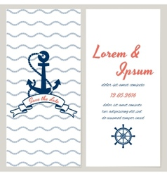 Nautical style wedding invitation vector