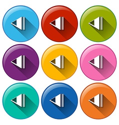 Round icons with rewind buttons vector