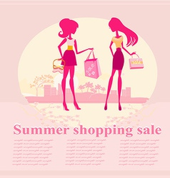 Fashion silhouettes girls shopping in the city - vector