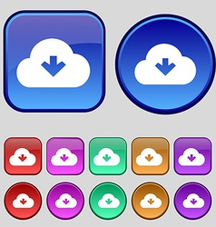 Download from cloud icon sign a set of twelve vector