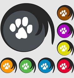 Trace dogs icon sign symbol on eight colored vector