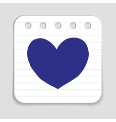 Doodle heart icon vector