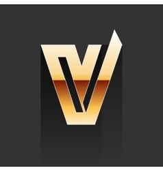 Gold Letter V Shape Logo Element vector image