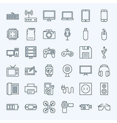 Line gadgets and devices icons set vector