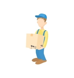 Delivery man holding and carrying cardbox icon vector