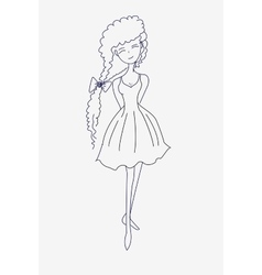 A sketch of a beautiful young girl vector image