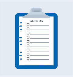 Agenda check list plate vector
