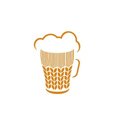 Beer glass with wheat ears and foam logo concept vector image