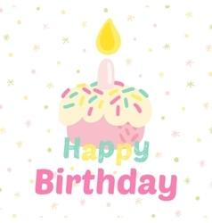 Birthday cupcake attributes icons vector