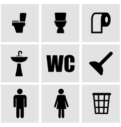 Black toilet icon set vector