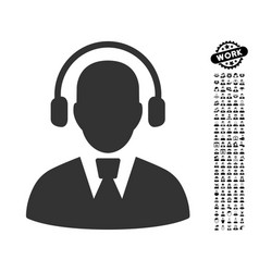 Call center operator icon with men bonus vector
