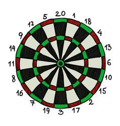 Cartoon image of dart board icon dart symbol vector