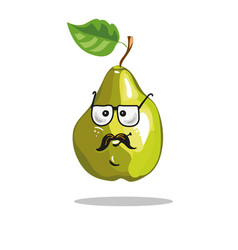 Cartoon pear funny serious character in glasses vector