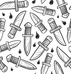 doodle knives pattern seamless vector image