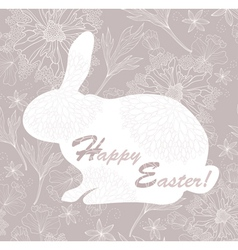 easter rabbit easter card with floral pattern vector image vector image