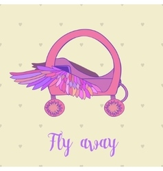 Fairytale royal pink princess carriage orchariot vector