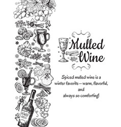 Hand drawn mulled wine poster black and vector